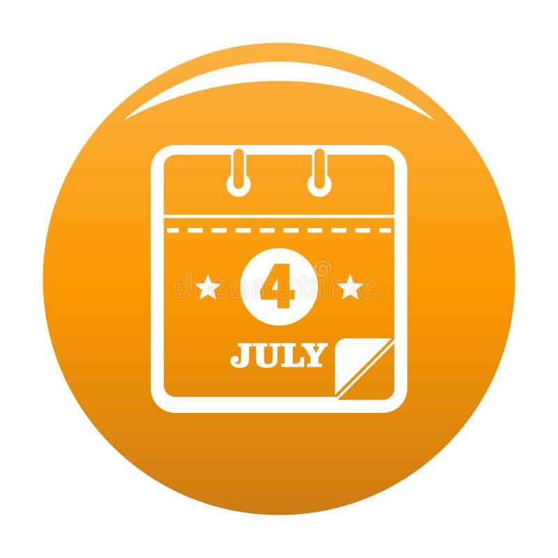 Calendar апельсин значка четвертом -го в июле иллюстрация штока