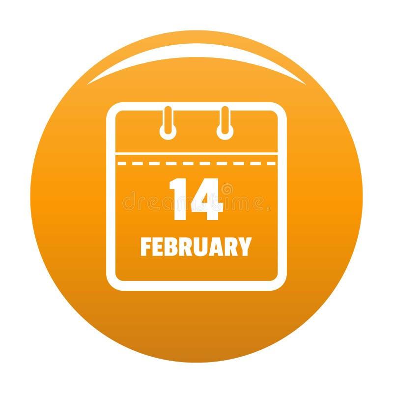 Calendar апельсин значка четырнадцатом -го в феврале иллюстрация штока