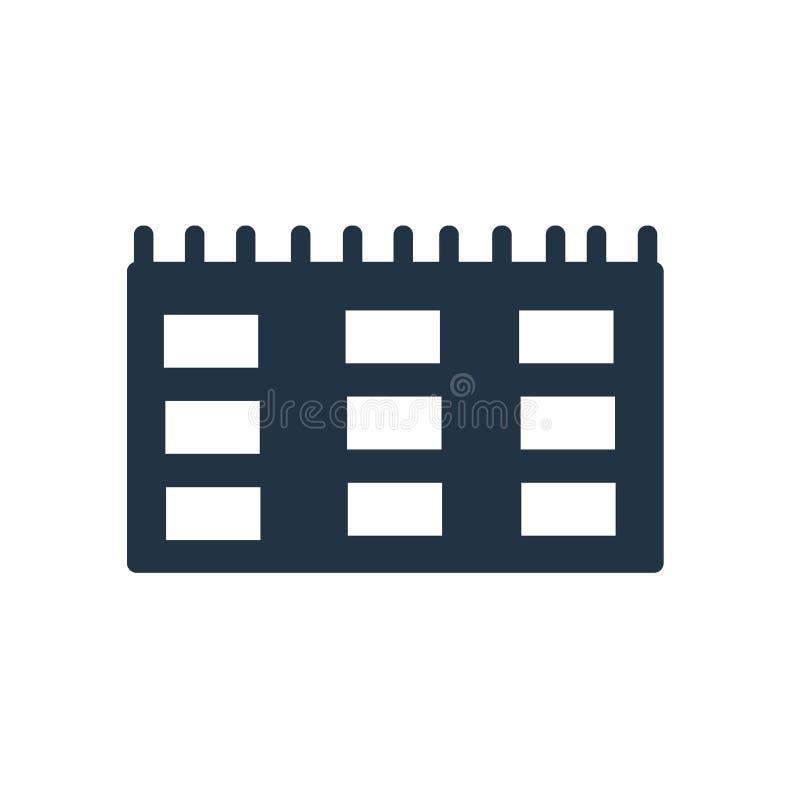 Calendar вектор значка изолированный на белой предпосылке, знаке календаря иллюстрация штока