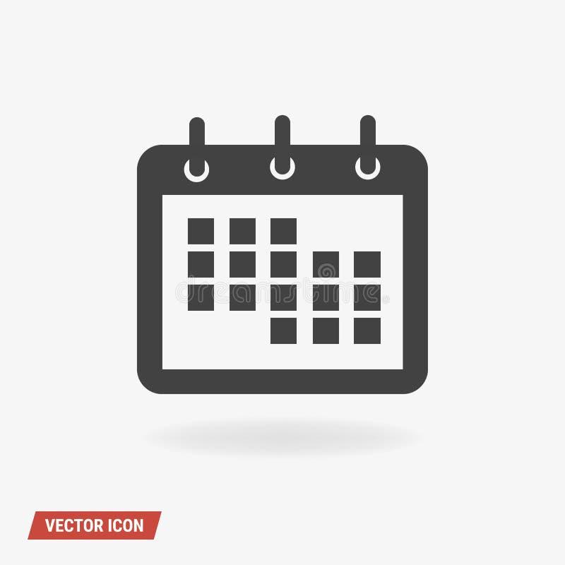 Calendar вектор значка, стиль дизайна illustion вектора плоский иллюстрация штока