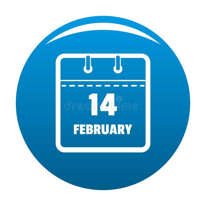 Calendar вектор сини значка четырнадцатом -го в феврале иллюстрация штока