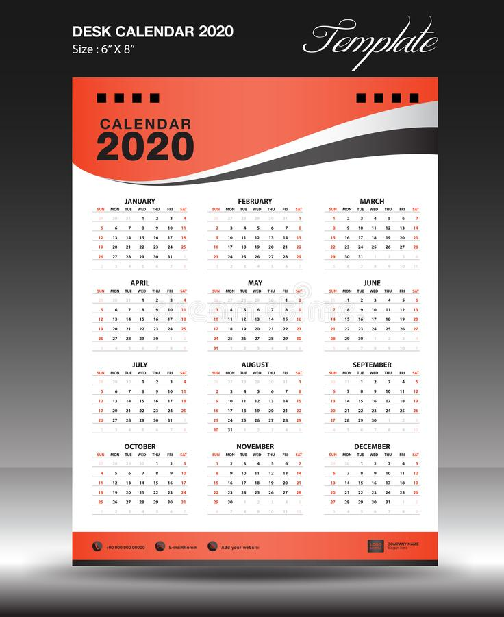 calendar 2020 вертикаль дюйма размера 6x8 года, старт воскресенье недели, рогулька дела, оранжевая предпосылка, вектор иллюстрация вектора