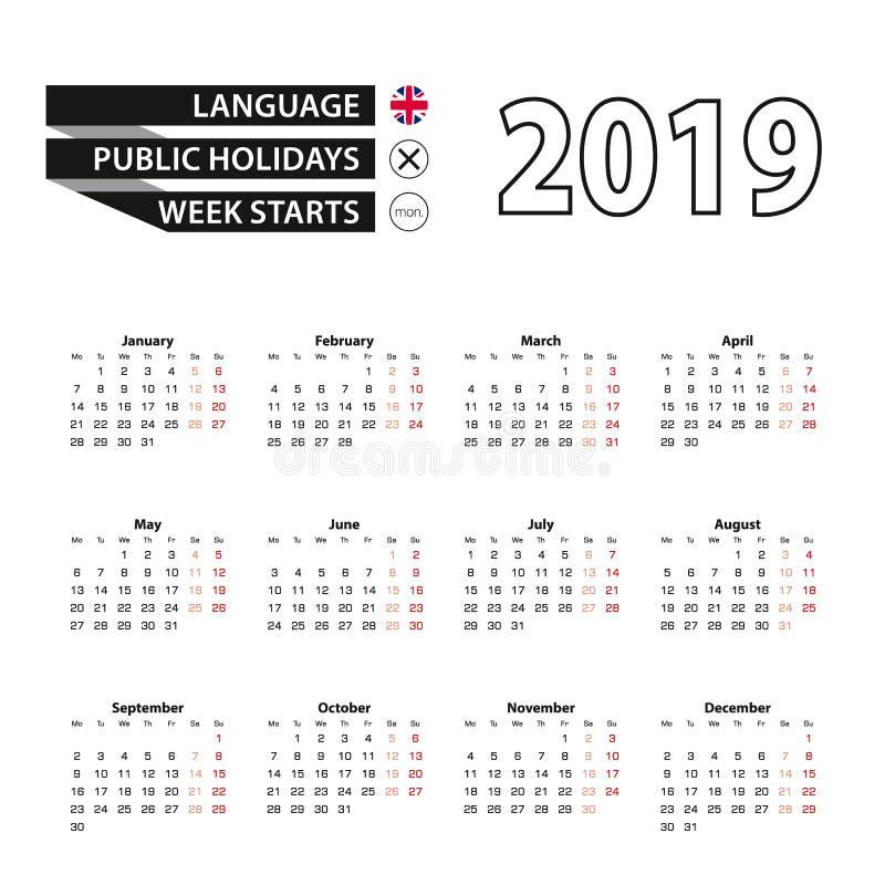 Calendar 2019 в английском языке, стартах недели в понедельник иллюстрация вектора