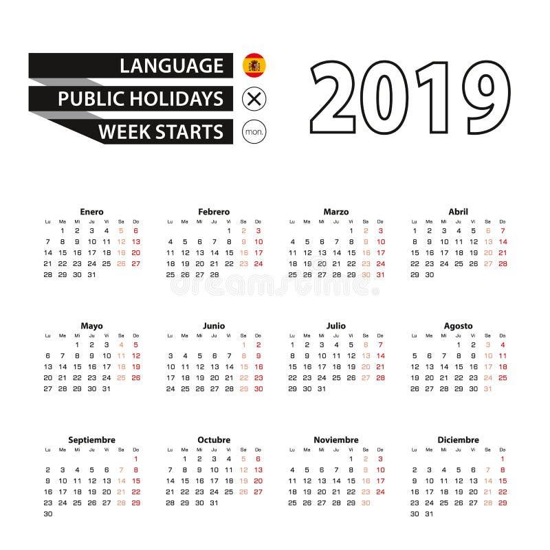 Calendar 2019 в испанском языке, стартах недели в понедельник иллюстрация вектора