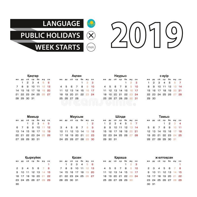 Calendar 2019 в языке казаха, стартах недели в понедельник бесплатная иллюстрация