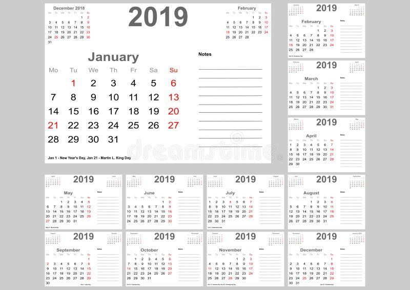 Calendar 2019 для США с местом для примечаний иллюстрация штока