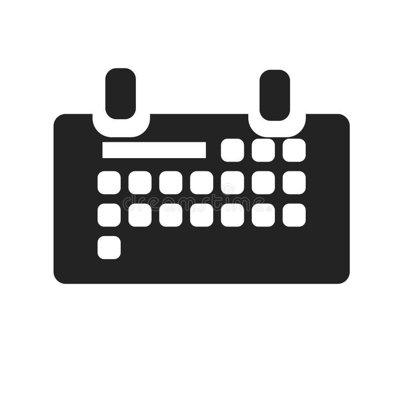 Calendar знак и символ вектора значка изолированные на белой предпосылке, концепции логотипа календаря иллюстрация штока