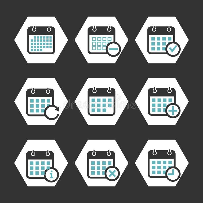 Calendar значки вектора с событием, прогрессом и другими символами иллюстрация вектора