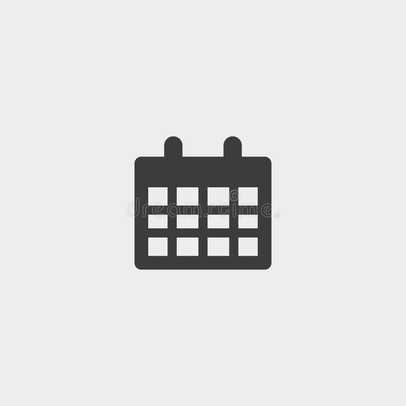 Calendar значок в плоском дизайне в черном цвете Иллюстрация EPS10 вектора иллюстрация штока