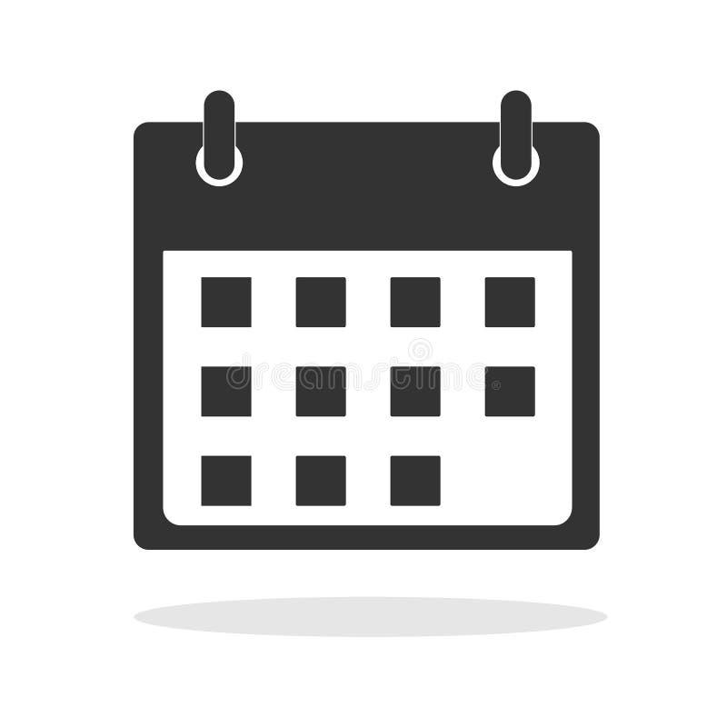 Calendar значок в ультрамодном плоском стиле на белой предпосылке бесплатная иллюстрация