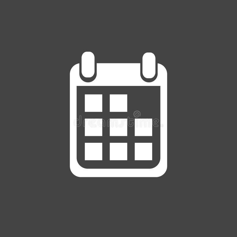 Calendar значок на черной предпосылке, иллюстрации вектора Плоский хлев иллюстрация вектора