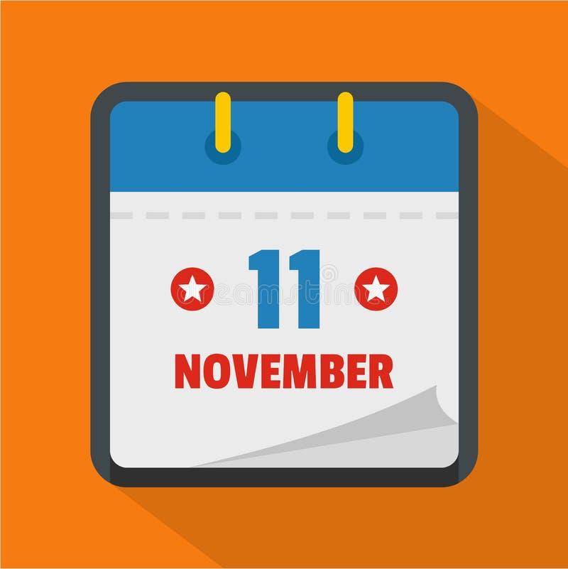 Calendar значок одиннадцатом -го в ноябре, плоский стиль иллюстрация штока