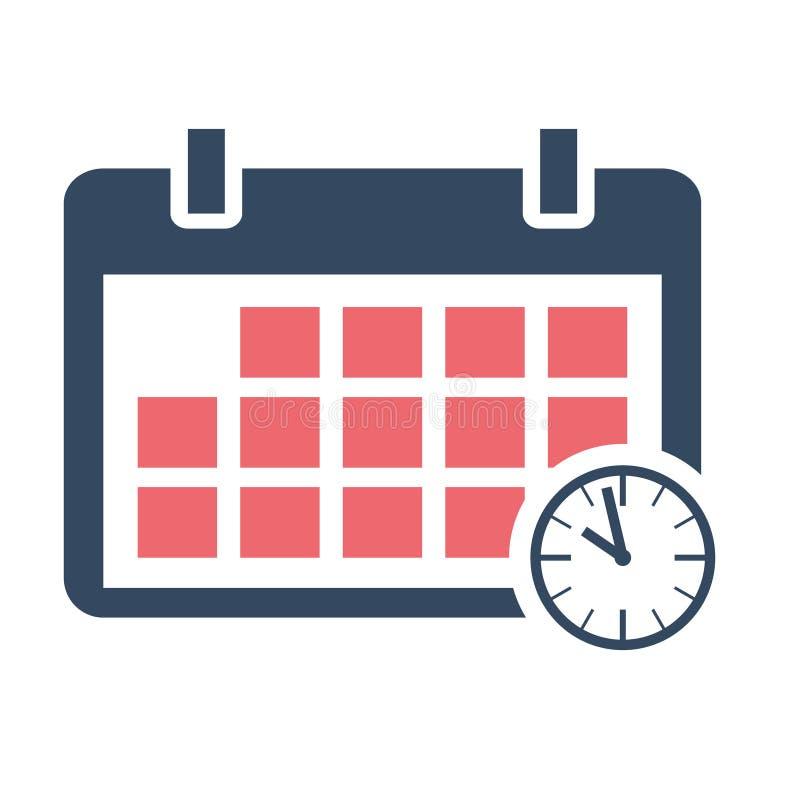 Calendar значок план-графика плоский, дизайн вектора с часами на предпосылке иллюстрация вектора