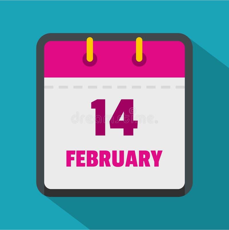 Calendar значок четырнадцатом -го в феврале, плоский стиль бесплатная иллюстрация