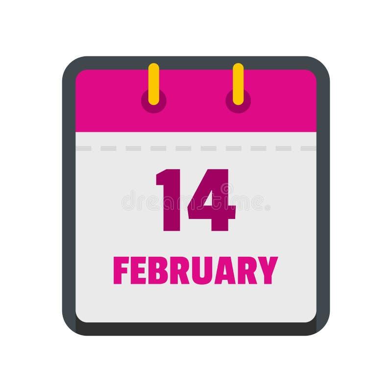 Calendar значок четырнадцатом -го в феврале, плоский стиль иллюстрация штока