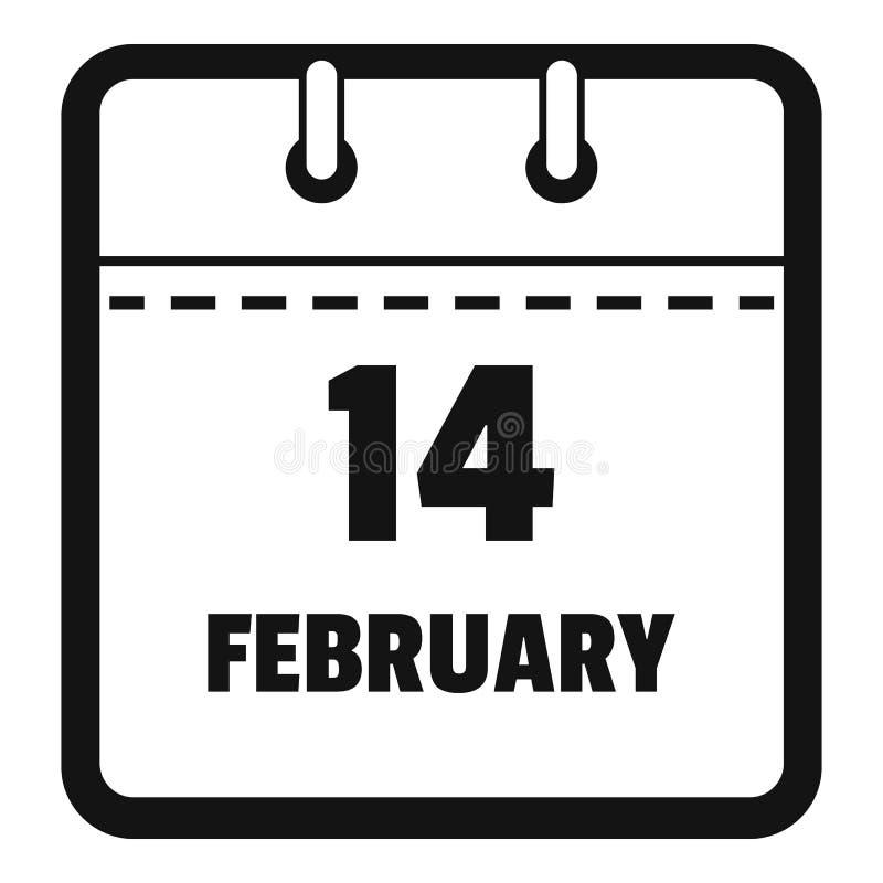 Calendar значок четырнадцатом -го в феврале, простой черный стиль иллюстрация вектора