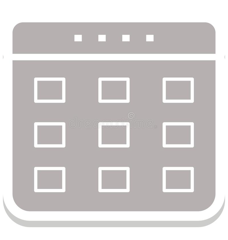 Calendar изолированный значок вектора который может быть легко редактирует или доработал иллюстрация штока