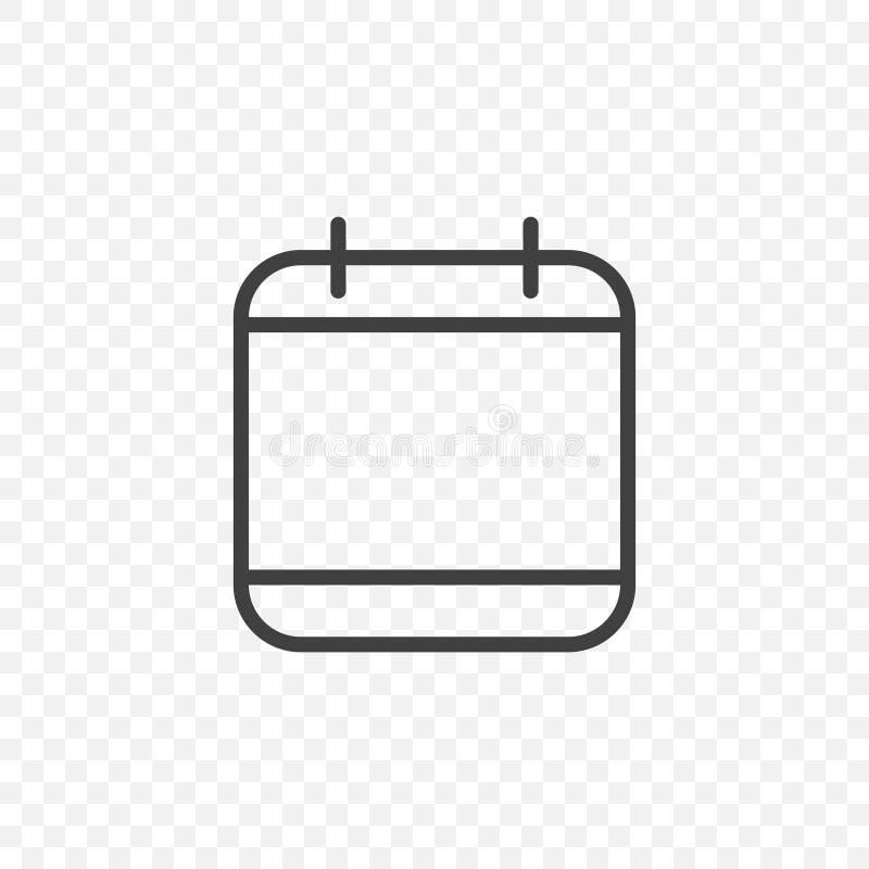 calendar икона Вектор на прозрачной предпосылке Легко для того чтобы редактировать цвет бесплатная иллюстрация