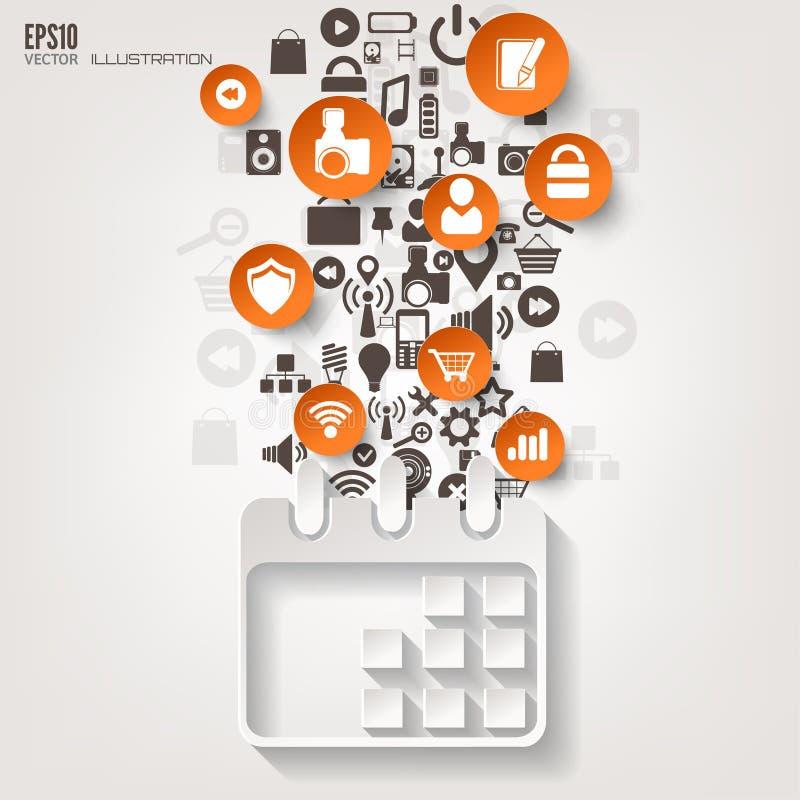 calendar икона Плоская абстрактная предпосылка с значками сети Символы интерфейса облако 2010 вычисляя smau Майкрософта приборы п иллюстрация штока