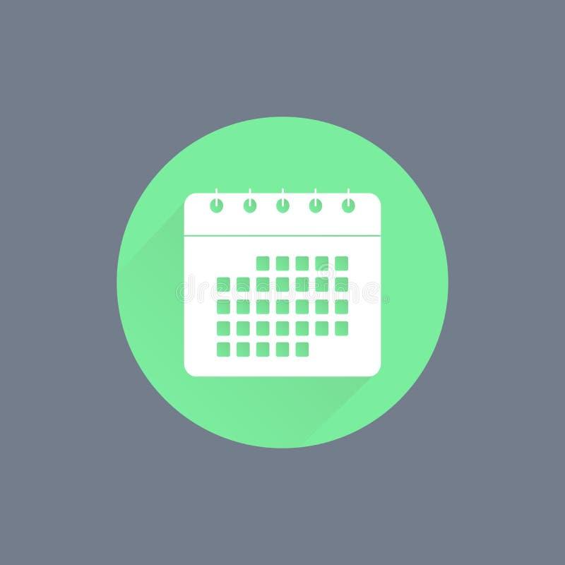 calendar икона Плоский дизайн иллюстрация вектора
