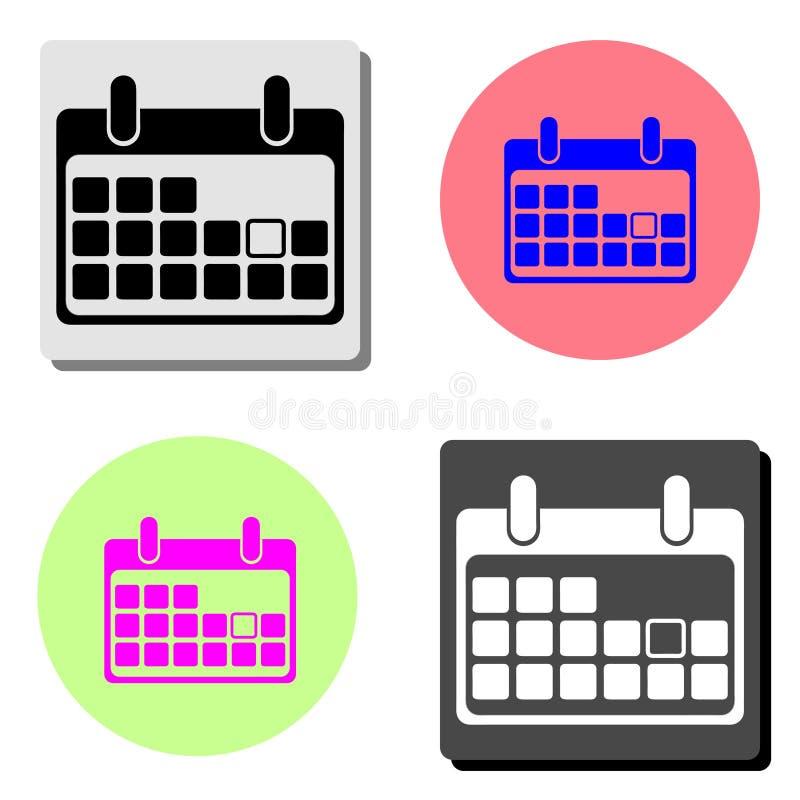 calendar икона Плоский значок вектора иллюстрация вектора
