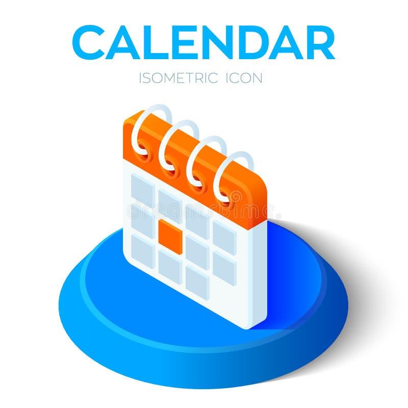 calendar икона равновеликий знак календаря 3D Созданный для черни, сеть, оформление, продукты печати, применение Улучшите для веб бесплатная иллюстрация