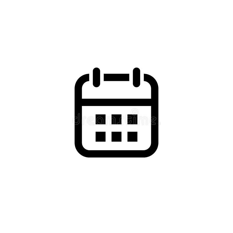 calendar икона Символ вектора изолированный на белой предпосылке иллюстрация вектора