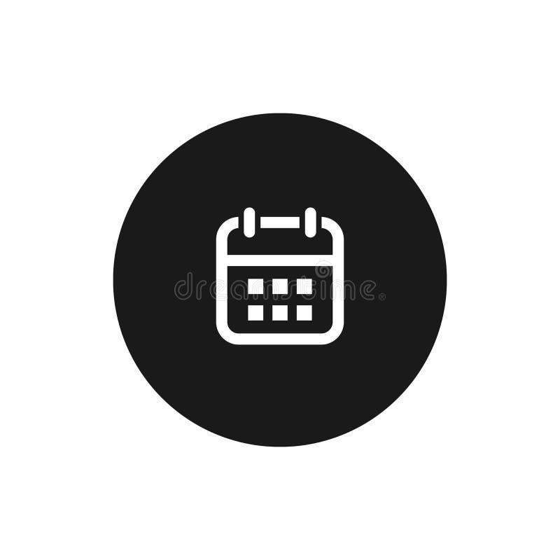 calendar икона символ вектора изолированный на темной предпосылке бесплатная иллюстрация