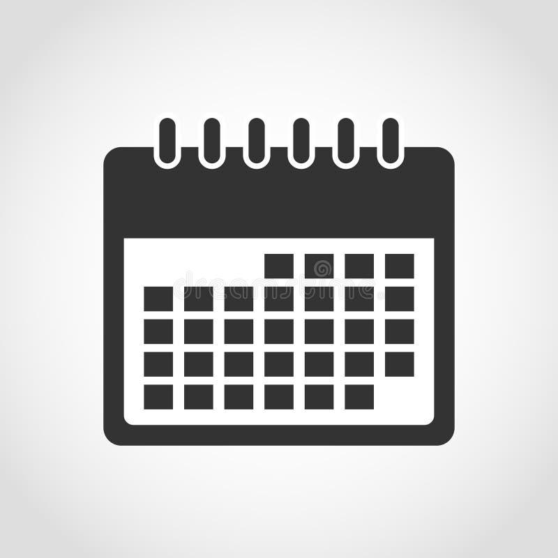 calendar икона Черно-белый календарь иллюстрация штока