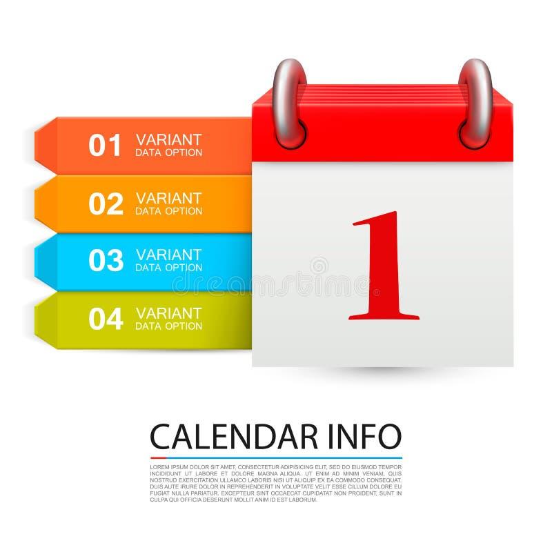 Calendar информация один день на белой предпосылке иллюстрация вектора