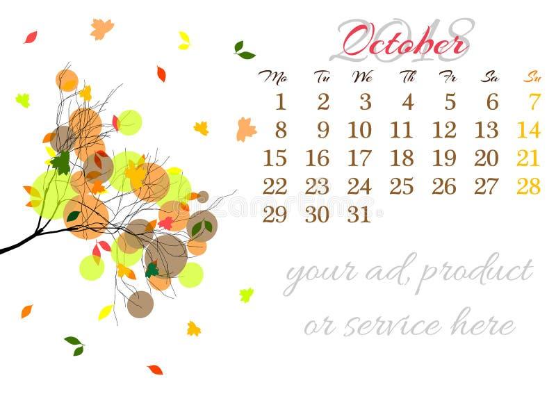 Calendar лист на 2018 -го октябрь с ветвью дерева иллюстрация штока