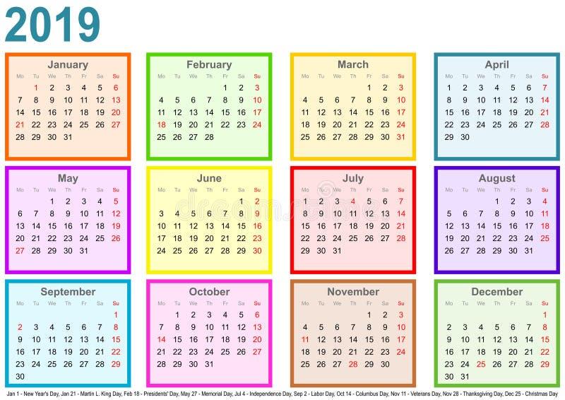 Calendar 2019 каждых месяцев различных покрасил квадратные США иллюстрация штока