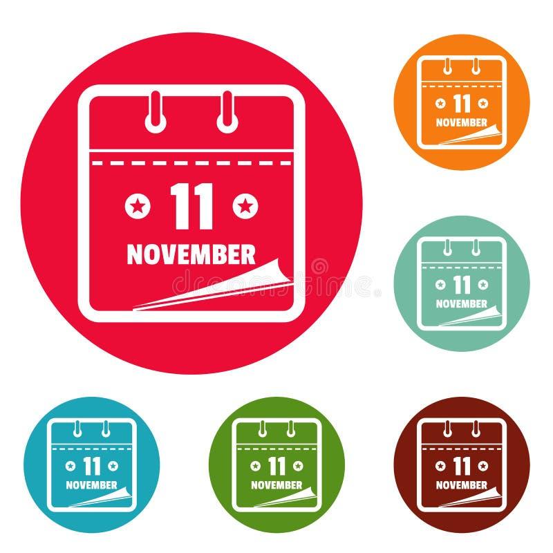 Calendar комплект круга значков одиннадцатом -го в ноябре иллюстрация вектора