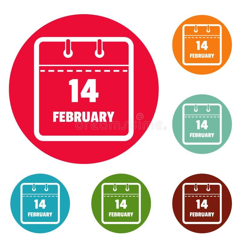Calendar комплект круга значков четырнадцатом -го в феврале иллюстрация вектора