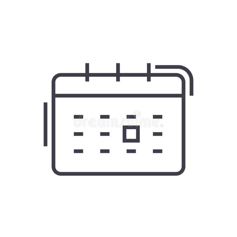Calendar линия значок вектора, знак, иллюстрация на предпосылке, editable ходах иллюстрация вектора