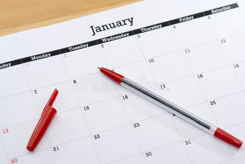 Calendar лист январь стоковое фото rf