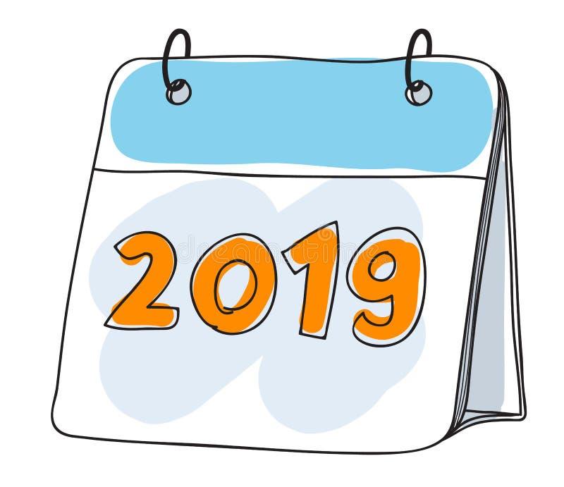 Calendar 2019 милой нарисованных рукой иллюстраций вектора искусства иллюстрация штока