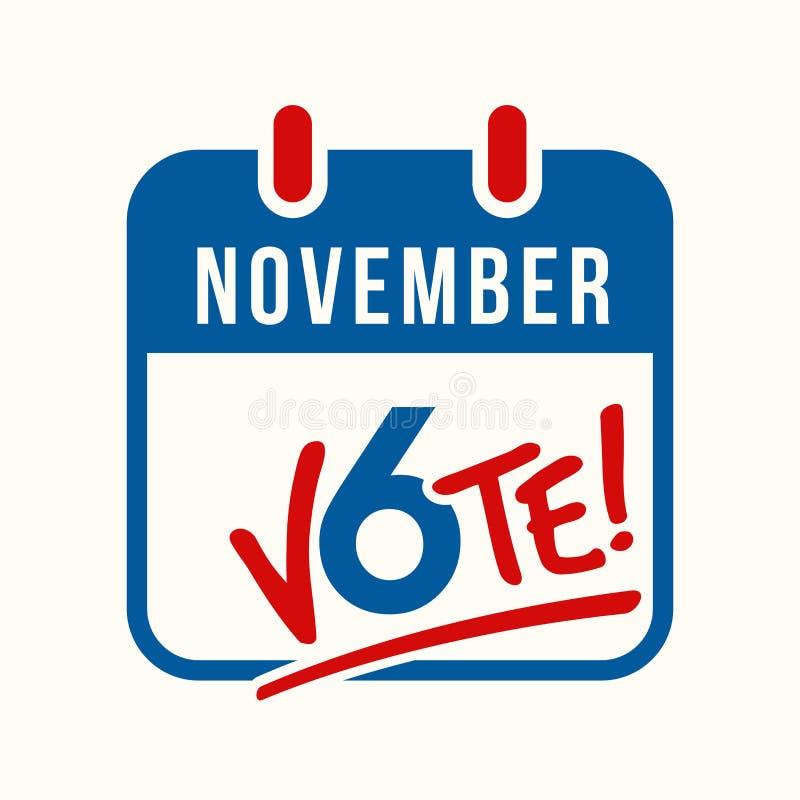 Calendar напоминание страницы для голосования в избрании США происходящем в середине семестра экзамены 6-ого ноября бесплатная иллюстрация