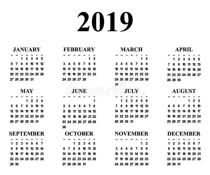 Calendar на год 2019 бесплатная иллюстрация