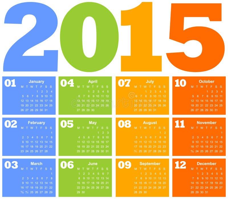 Calendar на год 2015 иллюстрация вектора