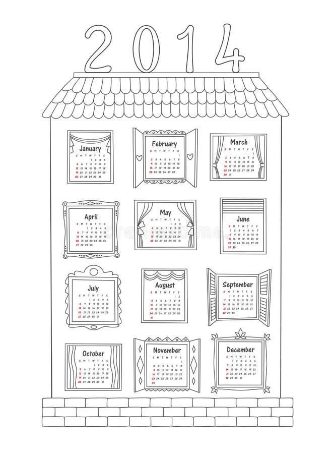 Calendar на год 2014. Покрашенный дом с w иллюстрация вектора
