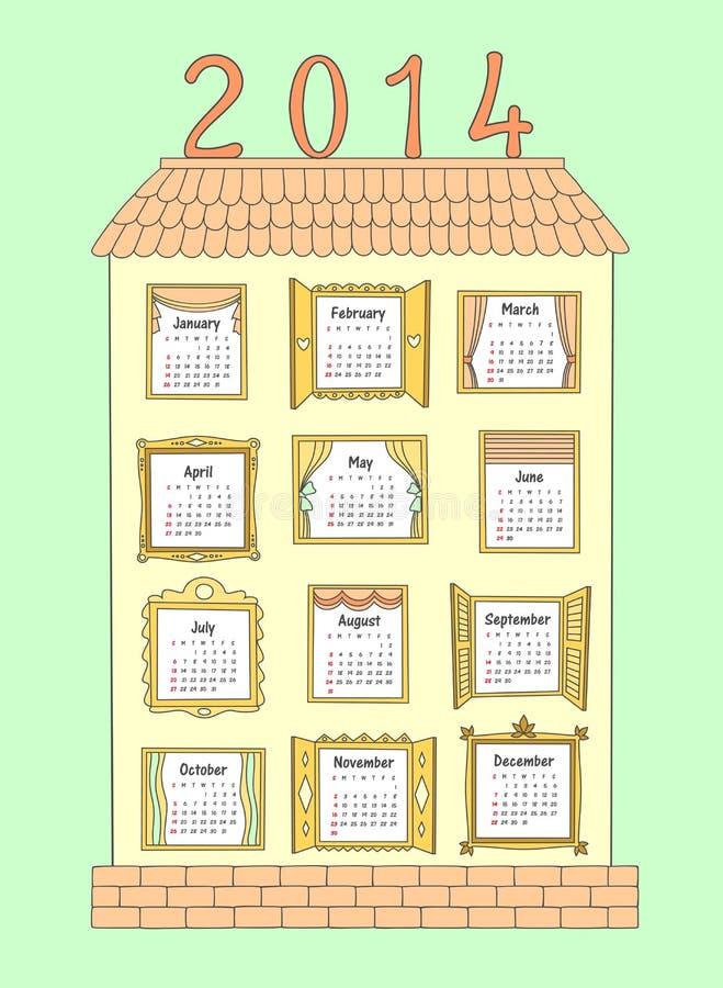 Calendar на год 2014. Покрашенный дом с Windows. бесплатная иллюстрация