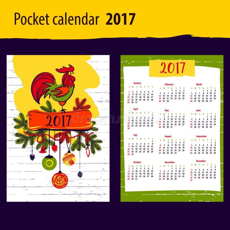 Calendar на год 2017 с краном и рождеством силуэта иллюстрация штока