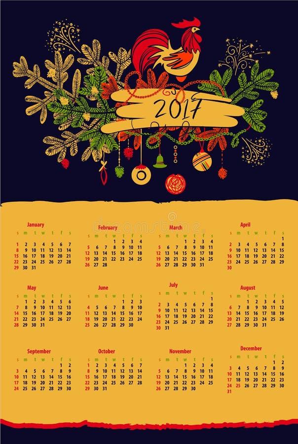 Calendar на год 2017 с краном и рождеством силуэта бесплатная иллюстрация