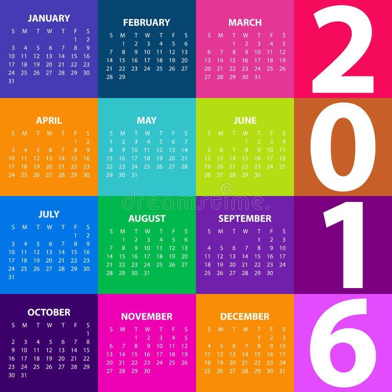 Calendar на год 2016 также вектор иллюстрации притяжки corel иллюстрация штока