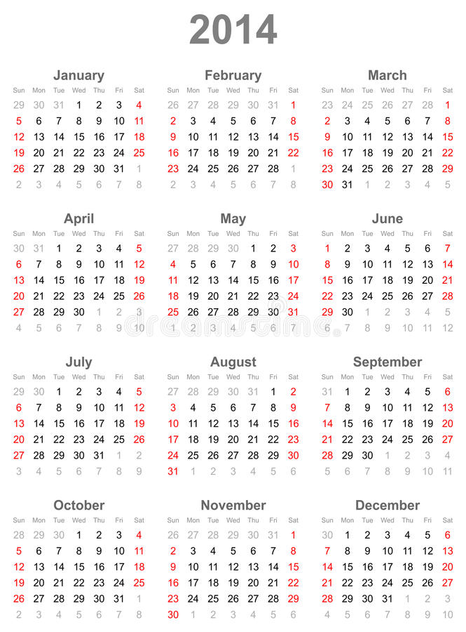 Calendar на год 2014 иллюстрация вектора
