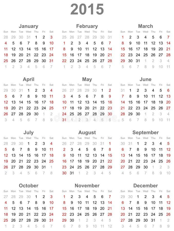 Calendar на год 2015 иллюстрация штока