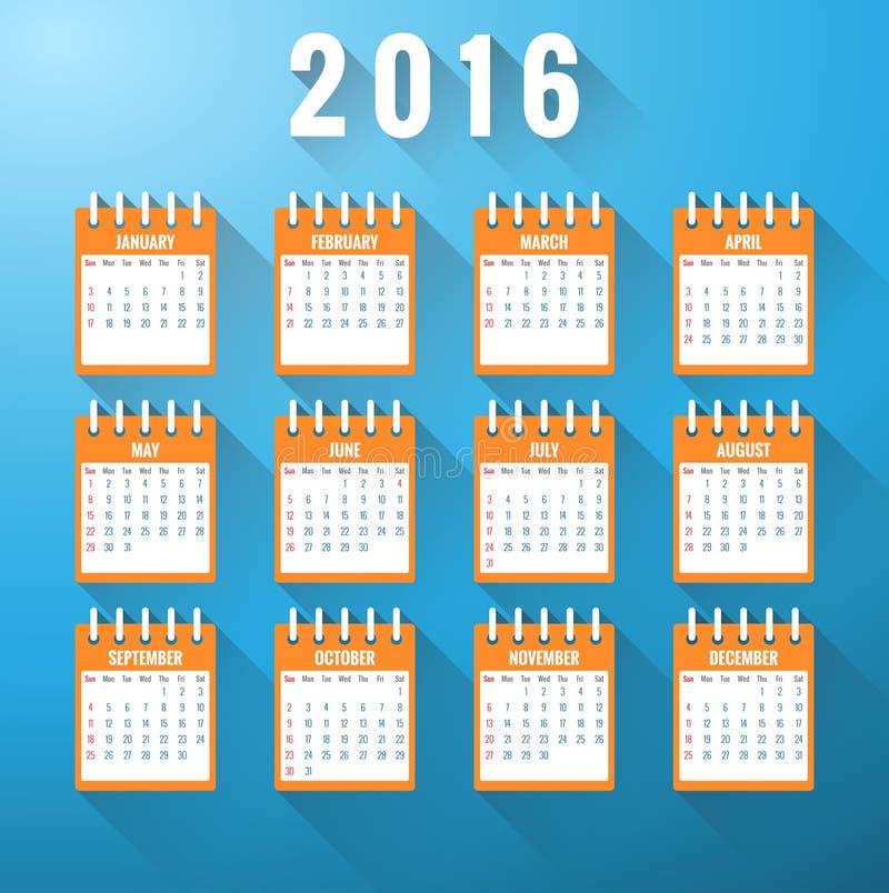 Calendar на год 2016 иллюстрация вектора