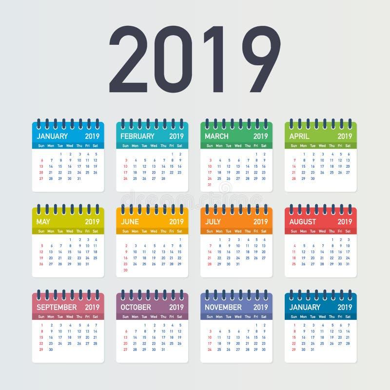 Calendar 2019, неделя начинает от воскресенья, шаблона дела Editable файл вектора доступный Английский язык и воскресенье к верси бесплатная иллюстрация