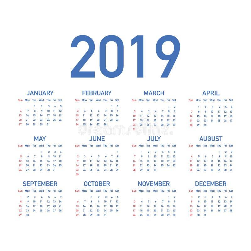 Calendar 2019, неделя начинает от воскресенья, шаблона дела Editable файл вектора доступный Английский язык и воскресенье к верси иллюстрация вектора